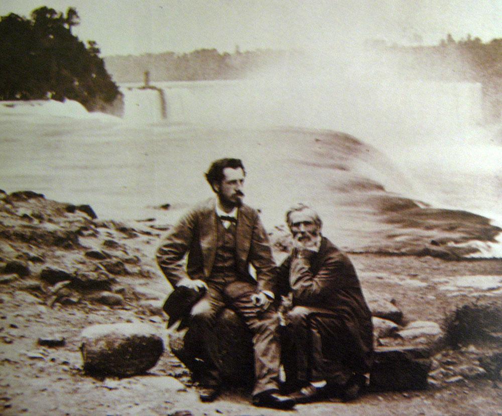 Auguste Bartholdi devant les chutes du Niagara