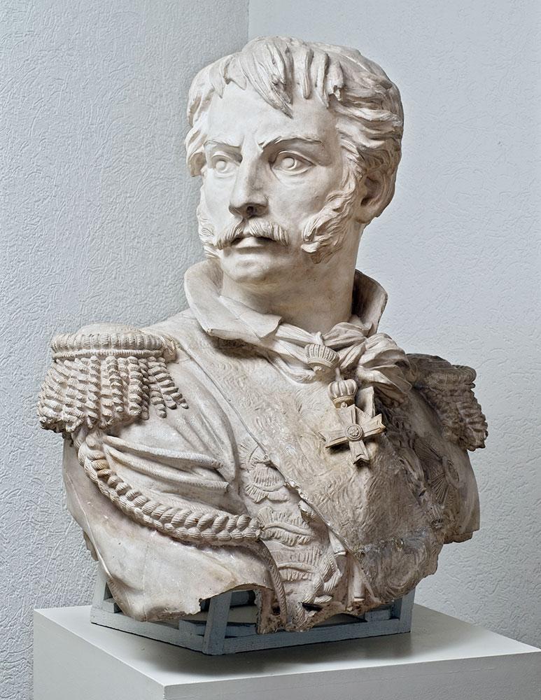 Moulage du buste mutilé de la statue Rapp