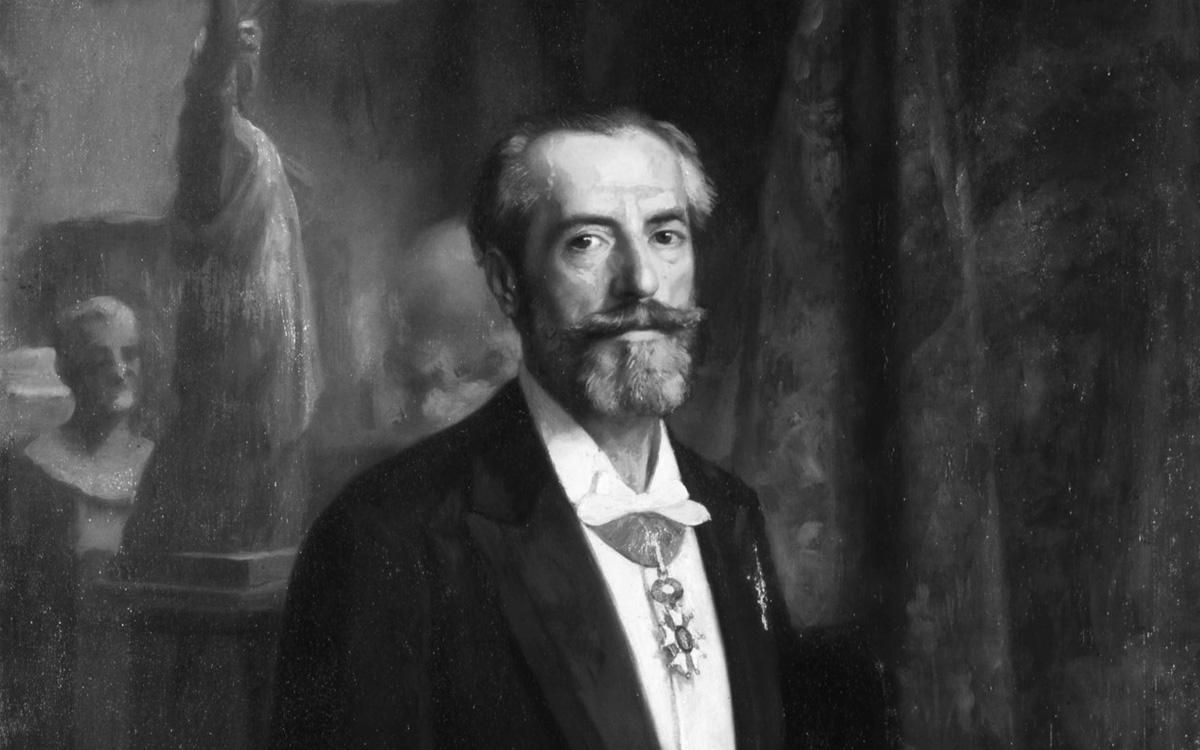 Partie d'une peinture du portrait d'Auguste Bartholdi